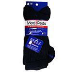 MediPeds Diabetic Crew Socks Med (Women 7-10, Men 6-9) Black 2 pairs