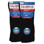MediPeds Diabetic Extra Wide Socks LG (Wmn 10-13, Men 9-12) Black 6 pr
