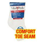 MediPeds Diabetic Quarter Socks, White - Large Pair