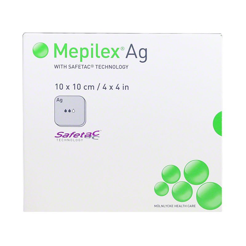 Molnlycke Mepilex AG Foam Dress W/Silver 4 inch x 4 inch 5/bx 287100 Pack of 3