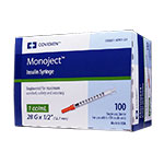 Monoject U-100 Insulin Syringes 28G 1cc 1/2 Inch Box 100