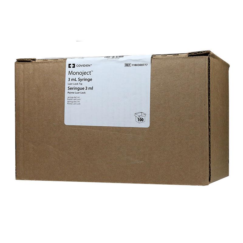 Monoject 3ml Syringe, Luer Lock Tip, Softpack - 100ct