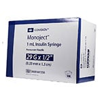 "Monoject Ultra Comfort U-100 Insulin Syringes 29G 1cc 1/2"" - 100ct thumbnail"