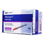 "Monoject Ultra Comfort 31g Syringes Half-Unit 5/16"" 3/10cc 100ct thumbnail"