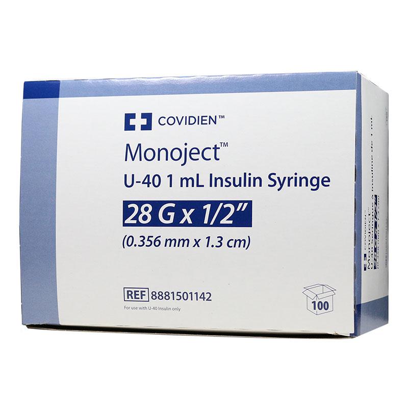 Monoject U-40 Pet Syringe, 1cc, 28G, 1/2