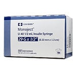 "Monoject U-40 Pet Insulin Syringe, 1/2cc, 29G, 1/2"" - 100ct thumbnail"