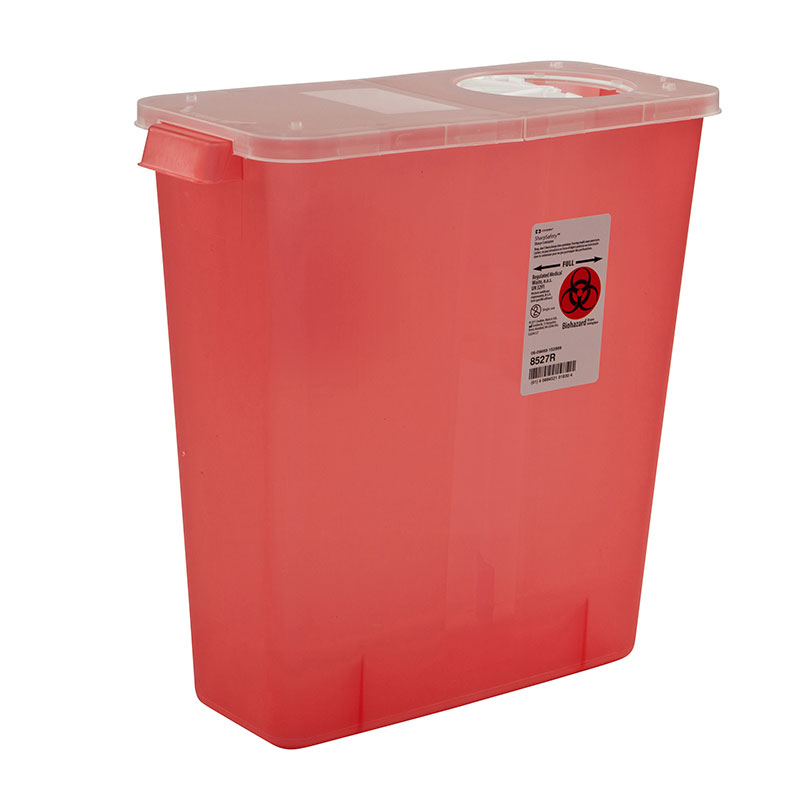 Multi-Purpose Container w/Rotor & Hinged Lid, 3gal - Transparent Red