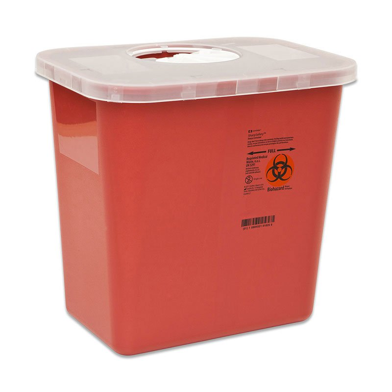 Multi-Purpose Containers with Rotor Opening Lid, Round, 5qt Red - 40ct