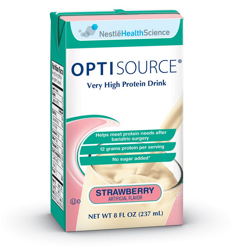 Nestle Optisource Very High Protein Drink Strawberry 8oz Case of 27