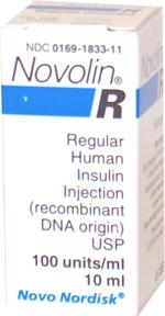 Novo-Nordisk Novolin-R Insulin U-100 - 10 mL Vial