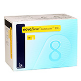 NovoFine Autocover Safety Pen Needles 30G 8mm 100 per Box