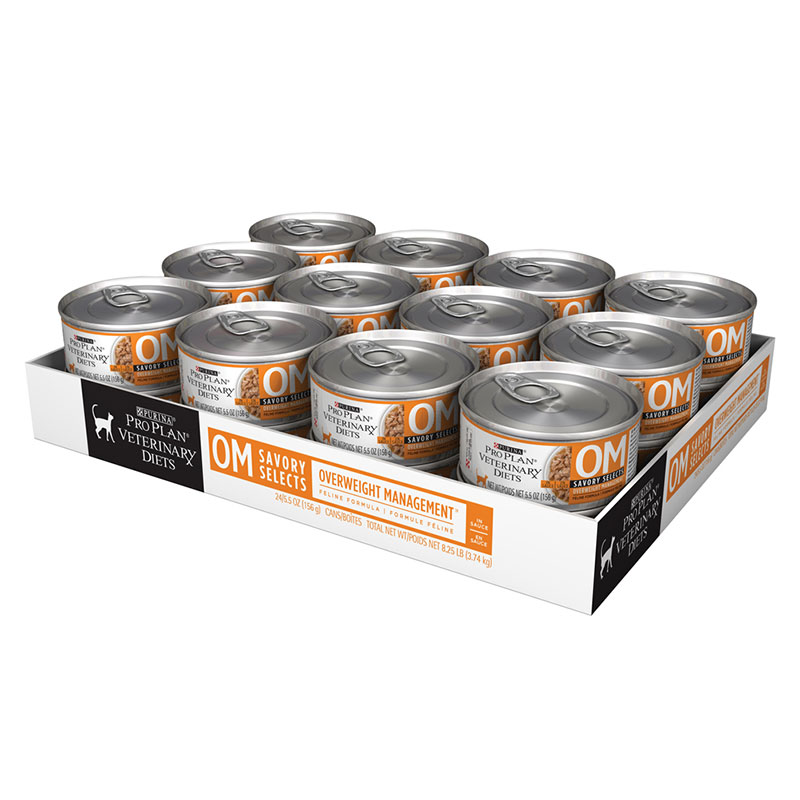 Purina Veterinary Diets OM Savory Selects In Gravy For Cats 24/5.5oz cans