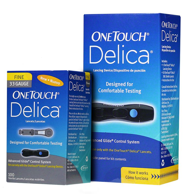 One Touch Delica Lancing Device & 33G Lancets 100/bx