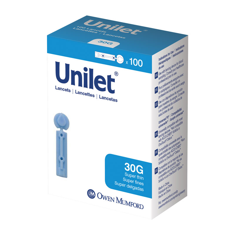 Owen Mumford Unilet Super-Thin Lancets 30 Gauge Pack of 6
