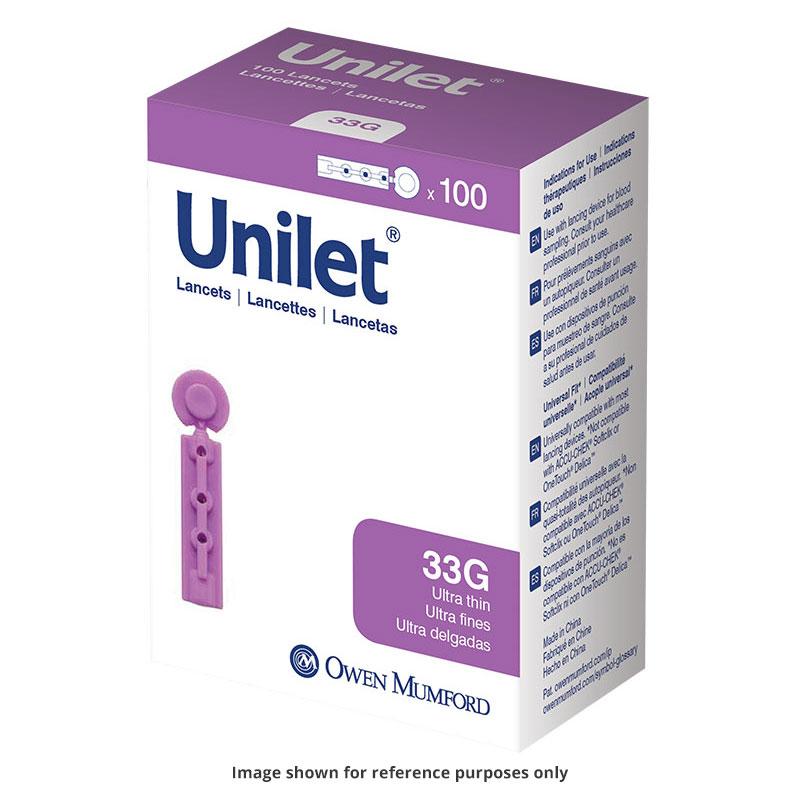 Owen Mumford Unilet Micro-Thin Lancets 33 Gauge Pack of 3