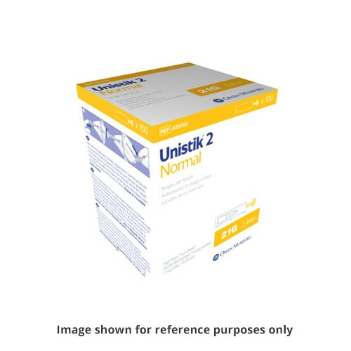 Owen Mumford Unistik 2 Normal Safety Lancets 100/bx AT0702 Pack of 6