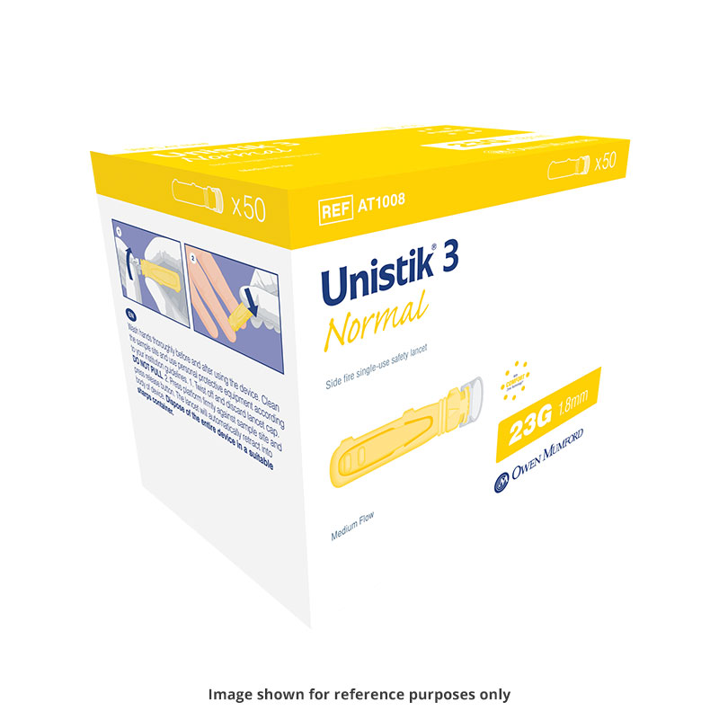 Owen Mumford Unistik 3 Normal Safety Lancets 50/bx AT1007 Pack of 6