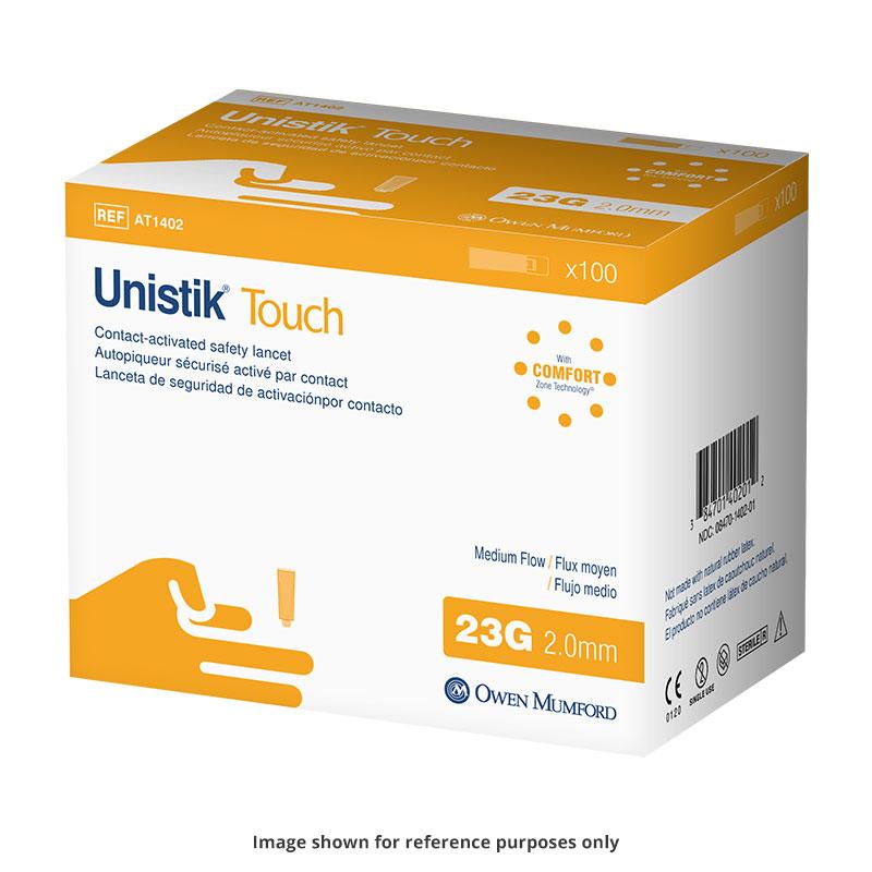 Owen Mumford Unistik Touch 23G 2mm - 100 Safety Lancets 6-Pack