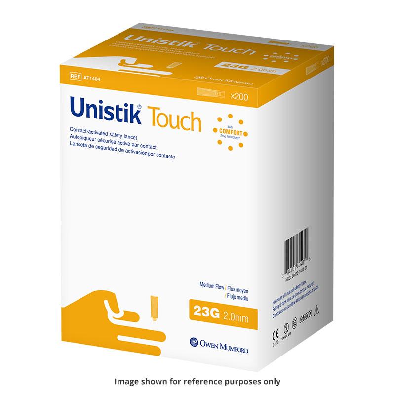Owen Mumford Unistik Touch 23G 2mm - 200 Safety Lancets 6-Pack
