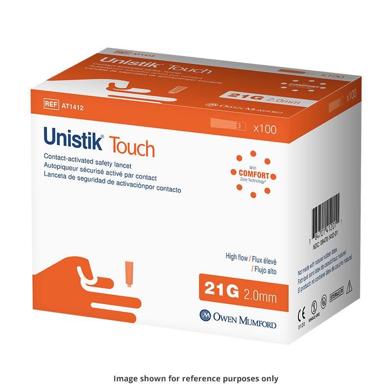 Owen Mumford Unistik Touch 21G 2mm - 100 Safety Lancets 3-Pack