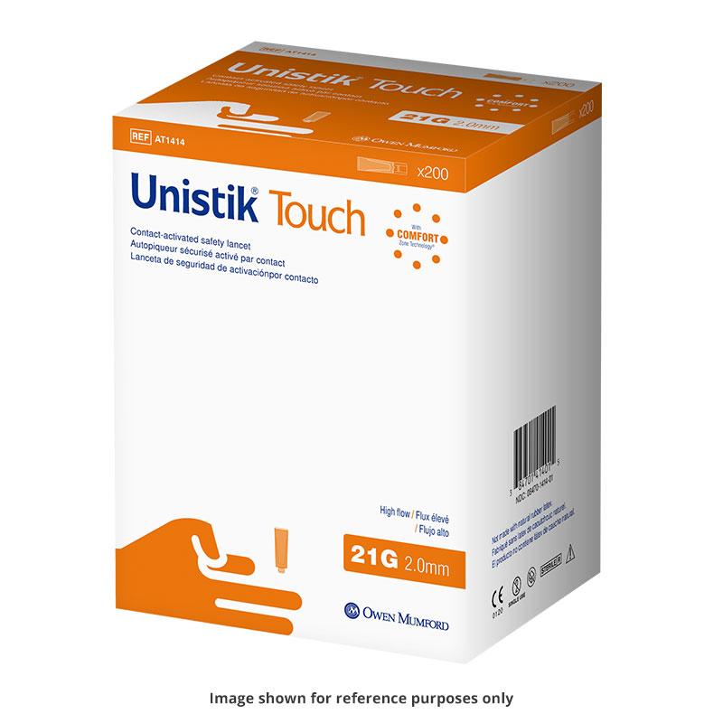 Owen Mumford Unistik Touch 21G 2mm - 200 Safety Lancets 6-Pack