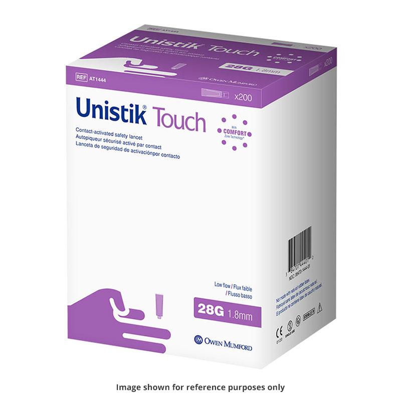 Owen Mumford Unistik Touch 28G 1.8mm - 200 Safety Lancets 6-Pack
