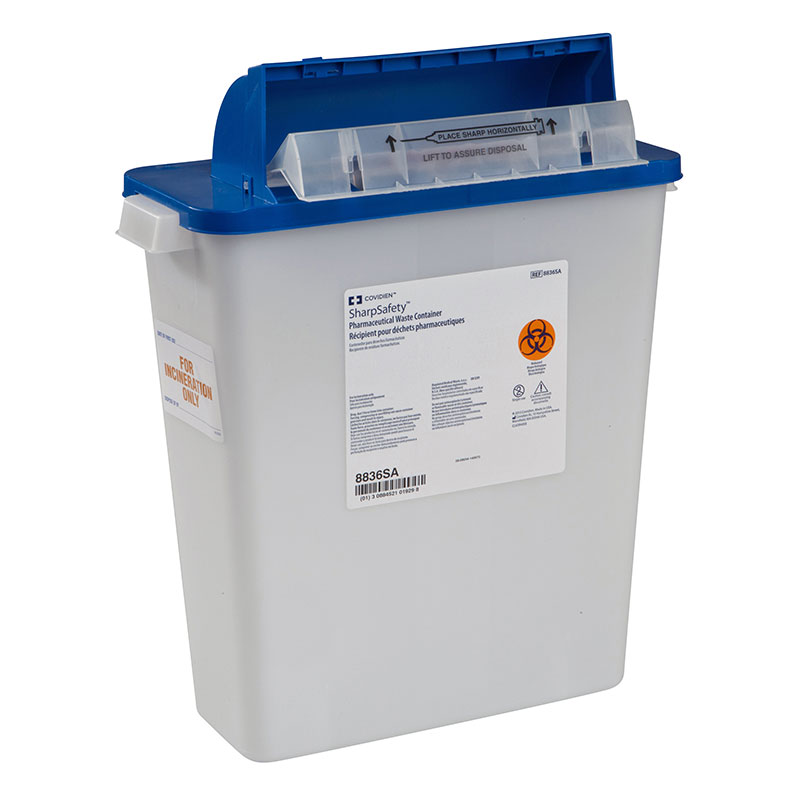 Pharmaceutical Waste Container, Counterbalanced Lid, 3gal, White 10ct