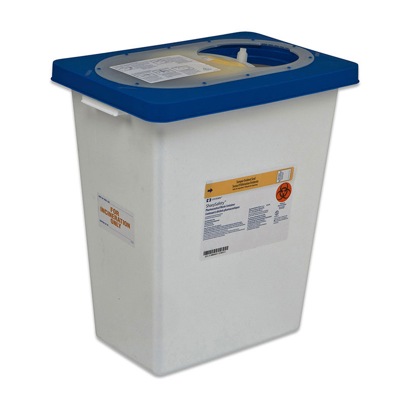 Pharmaceutical Waste Container 12 Gallon White, with Blue Hindged Lid