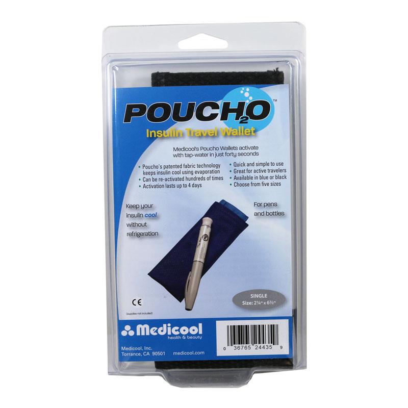 Poucho Diabetes Cooler Carry Case Single Pen Black