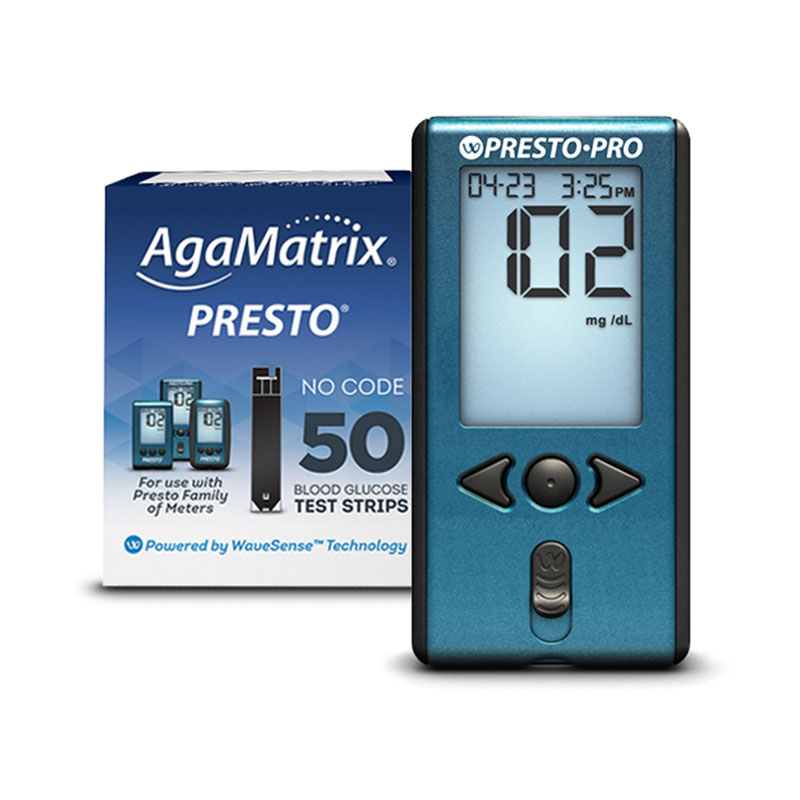 AgaMatrix Presto Pro Blood Glucose Meter Kit & 50 Strips