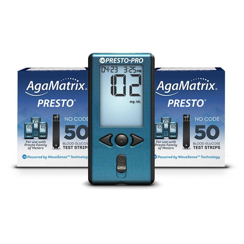 AgaMatrix Presto Pro Blood Glucose Meter Kit & 100 Strips