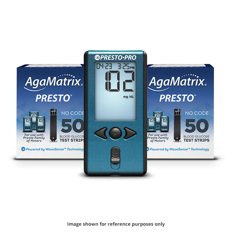 AgaMatrix Presto Test Strips Case of 48 Boxes and 12 FREE Pro Meters