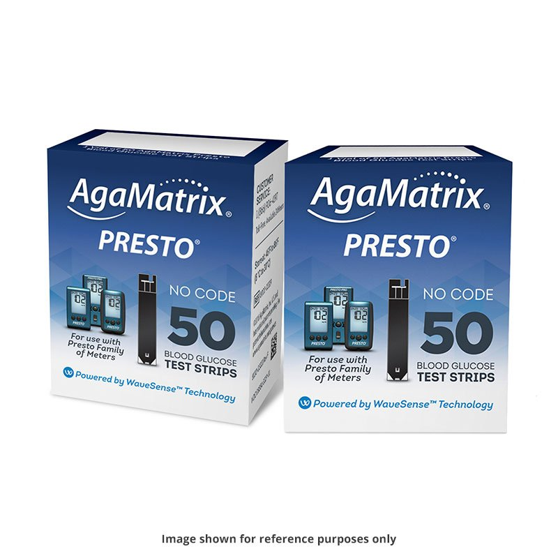 AgaMatrix Presto Blood Glucose Test Strips 50ct - Case of 96