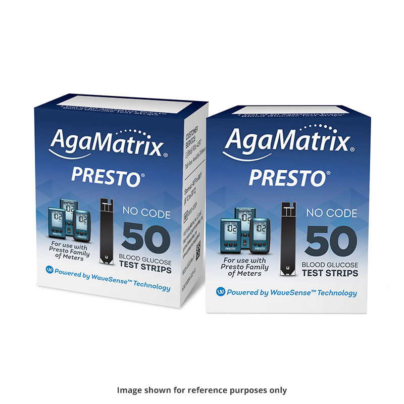 AgaMatrix Presto Blood Glucose Test Strips Case of 12