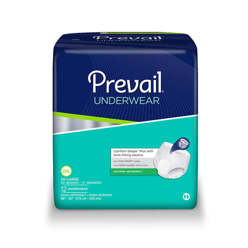 Prevail Protective Underwear 2X-LARGE 68 inch to 80 inch Sold By Bag of 12