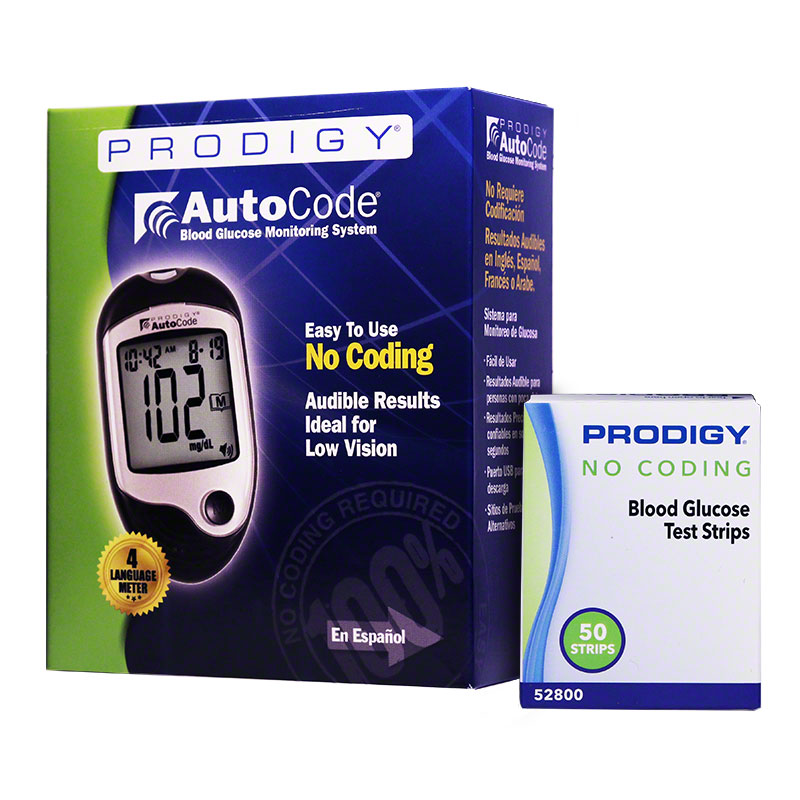 Prodigy No Coding Blood Glucose Test Strips 50ct w/AutoCode Meter