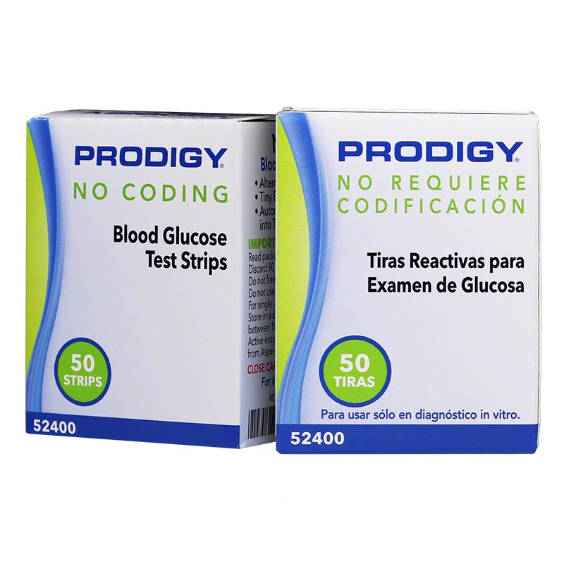 Prodigy No Coding Blood Glucose Test Strips 50/bx Case of 24