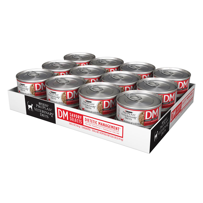 Purina Veterinary Diets DM Savory Selects For Cats 24/5.5oz Cans
