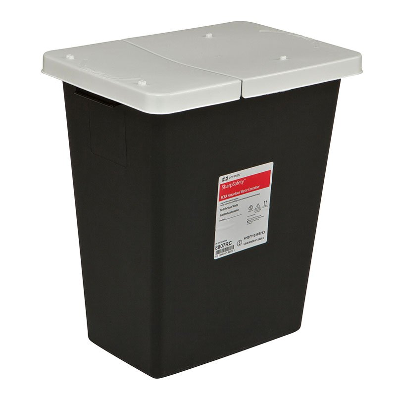 SharpSafety RCRA Hazardous Waste Hinge Lid, 8 Gallon Black - 10ct