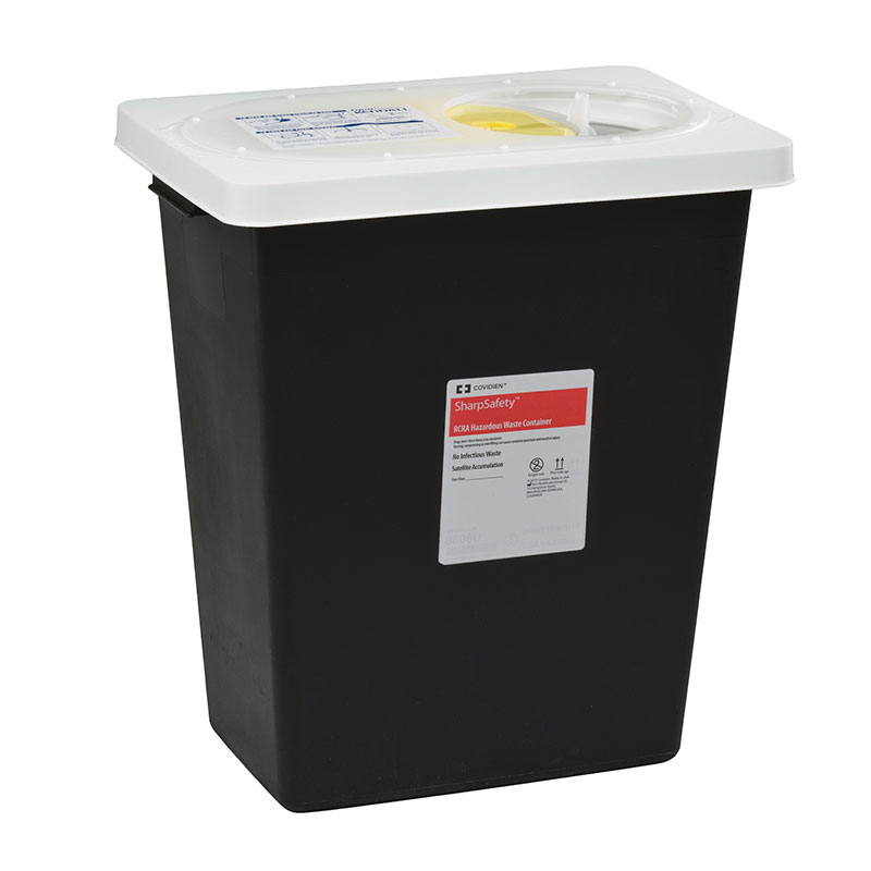SharpSafety RCRA Hazardous Waste Container 12 Gallon Black - 10ct