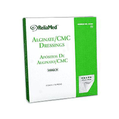 Reliamed 4 x 4 Calcium Alginate Cmc Blend, 10 per Box