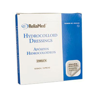 Reliamed 4 x 4 Hydrocolloid Wound Dressing, Bevld Edge, 10 per Box