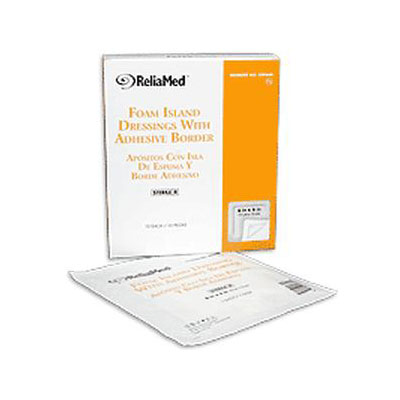 Reliamed 6 x 6 Adh Bordered Foam Dressing W Film Backing, 10 per Box