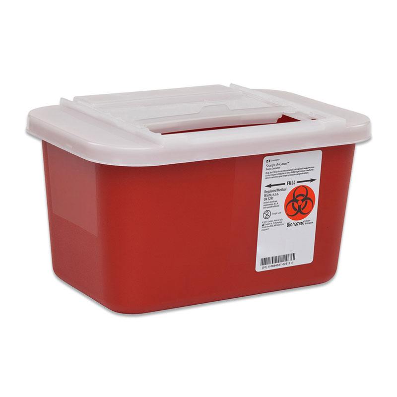 Sharps-A-Gator Sharps Container, Side Lid, 1 Gallon Red - 32ct