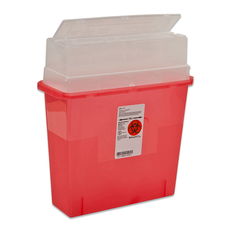 Sharps-A-Gator Sharps Container Tortuous Path 5qt Transparent Red 30ct