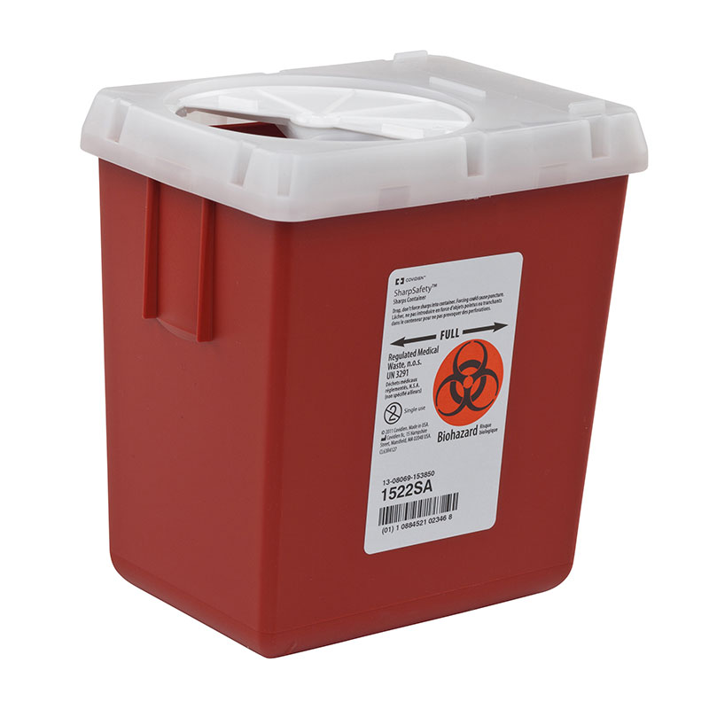 SharpSafety Sharps Container Phlebotomy 2.2 Quart - Red