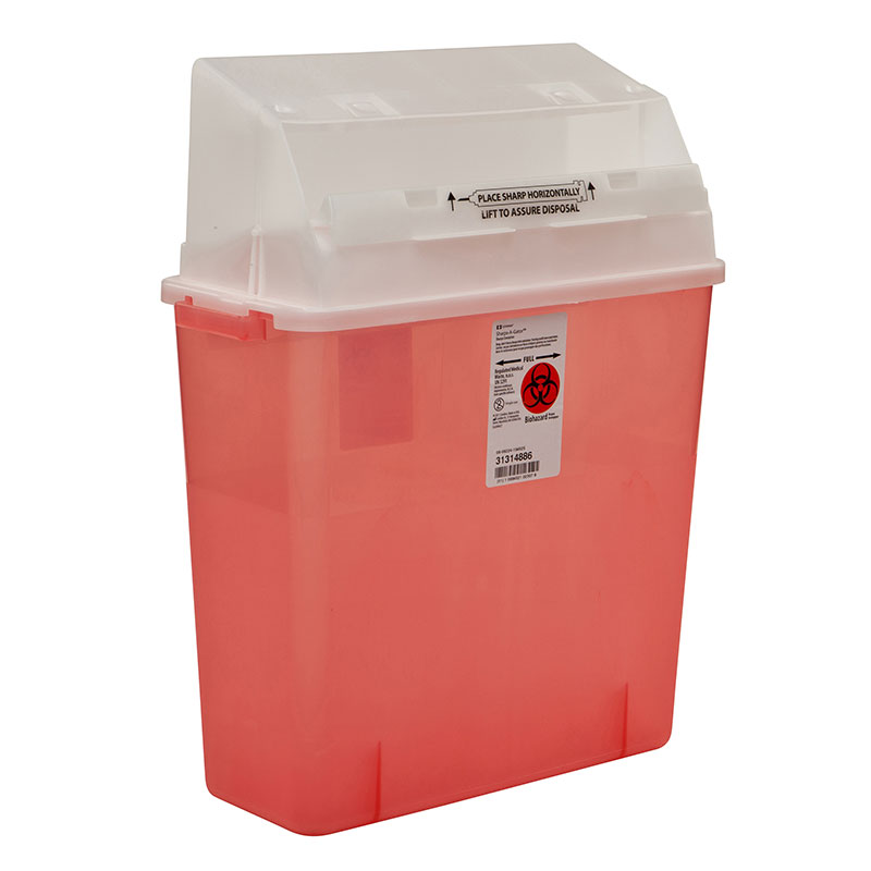 Sharps-A-Gator In Room Sharps Container 3gal Transparent Red - 12ct