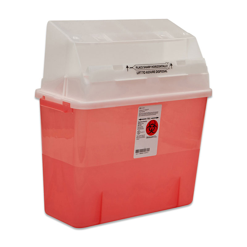 Sharps-A-Gator Safety In Room Sharps Container 2gal - Transparent Red
