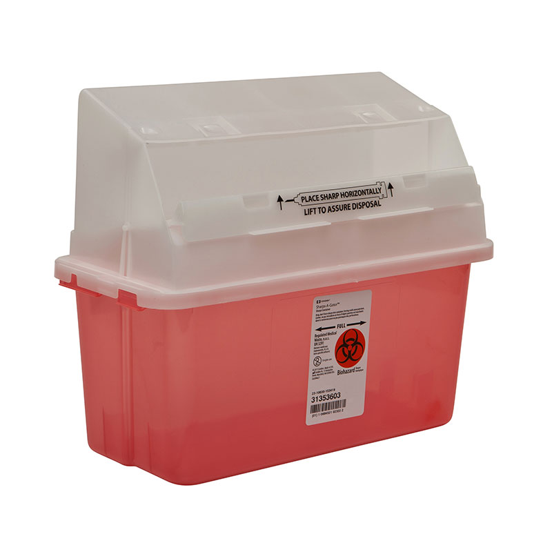Sharps-A-Gator In Room Sharps Container 5qt Transparent Red - 14ct