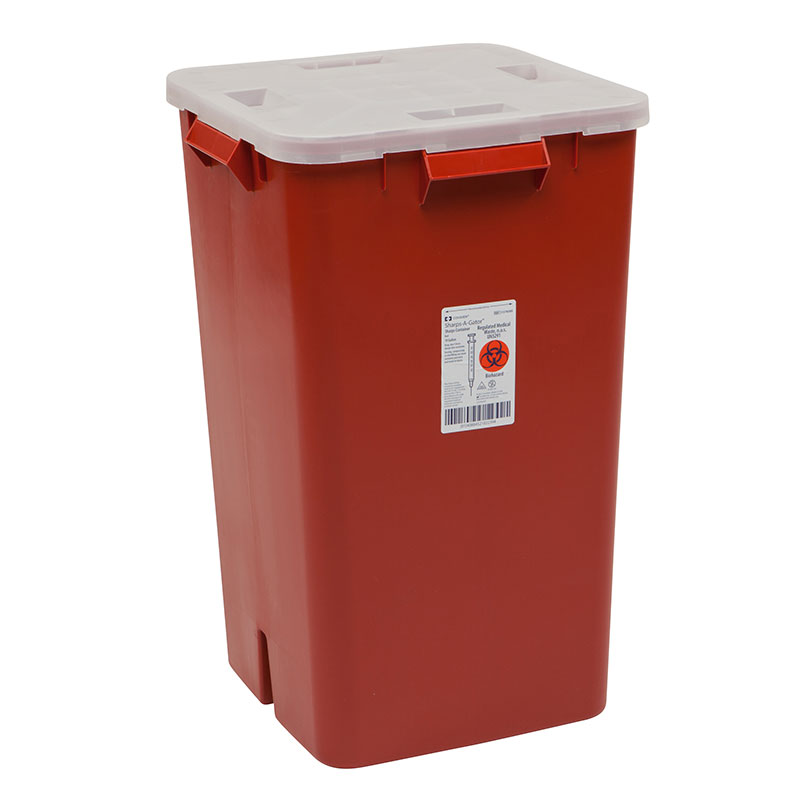 Sharps-A-Gator Sharps Container, 19 Gallon, Red - 5ct